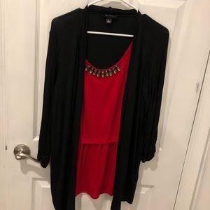 Ab Studio Red & Black Three Quarter Length Shirt.